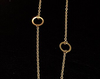 Gold Extra Long Circle Link Necklace Wrap Necklace