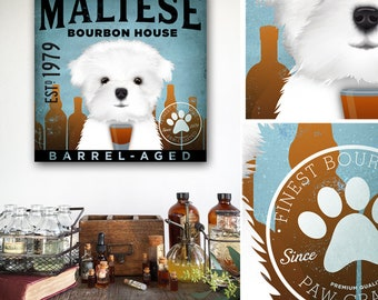 Maltese dog whiskey whisky Bourbon Company graphic art on gallery wrapped canvas by fowler