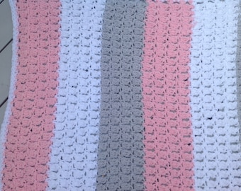 Pink white gray baby blanket Afghan