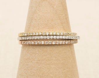Best Seller! 18K Real Gold Real Diamond Wedding Band Pave Setting Half Eternity 21 Diamonds 1mm Thin Wedding Band Stacking Rings AD1104
