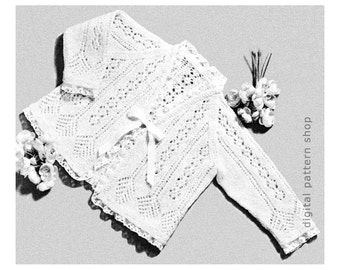 Baby Sweater Knitting Pattern Girls Lacy Sweater Raglan Cardigan Matinee Jacket Knitting Pattern PDF Instant Download K87