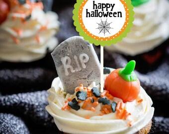 halloween tags cupcake toppers printable digital - Halloween Tags Printable