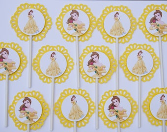 12 BEAUTY and the BEAST Cupcake Topper -Party Picks - BELLE - Disney Princess -