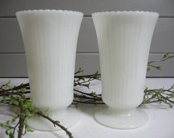 Large Milk Glass Vases, Flower Vases, Wedding, Bridal Shower, Country Chic, Cottage Decor