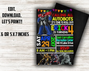 Transformers invite etsy transformers birthday invitation transformers birthday transformers birthday party transformers birthday transformers birthday filmwisefo Images