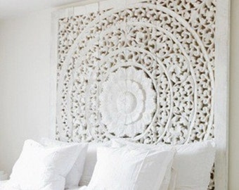 Carved Teak Wall Hanging Bed Headboard - unique white washed finish - 180 cm x 180 cm x 3cm (extra thick teak wood)