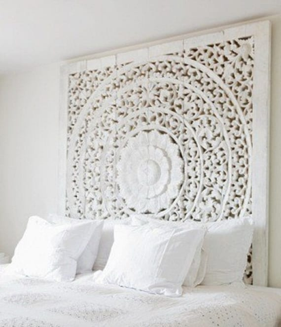 Geschnitzte Teak Wandbehang Bettkopfteil einzigartige weiß