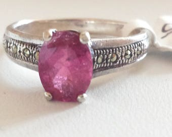 Rubellite Tourmaline Sterling Silver Ring, Natural Gemstone, Natural Rubellite Tourmaline, Bright Pink Tourmaline, October Birthstone