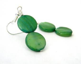 Green Shell Coin Earrings Dangle Earrings