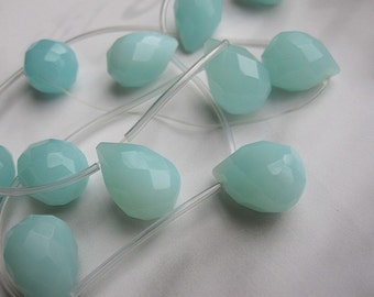 Blue Jade Stone 12x17mm Faceted Teardrop Briolletes--top drilled --11pcs Full Strand