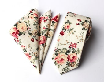 Beige Floral Skinny Tie & Pocket Square | floral tie | flower tie | skinny tie | wedding tie | wedding ideas | ideas | groom | white wedding