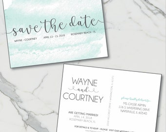 Beach Watercolor Save the Date Postcards