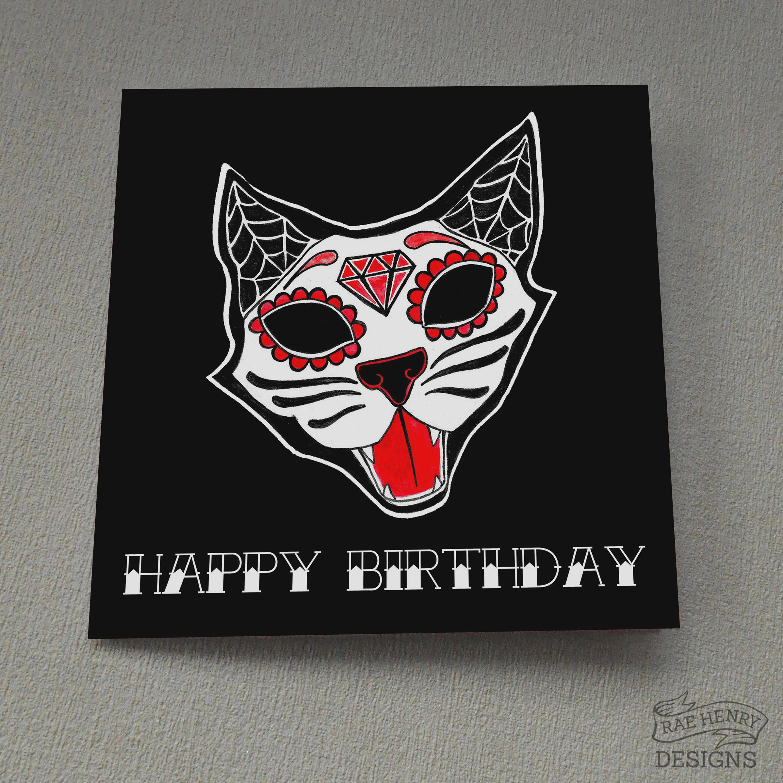 Sugar skull kitty birthday card day of the dead cat tattoo description sugar skull kitty birthday card kristyandbryce Images