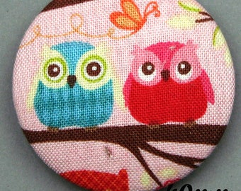 Fabric - OWL - 40mm (BP ANF 40 31) covered button