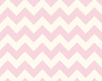 SALE Riley Blake Fabric Baby Pink Medium Chevron On Cream Color 75 Baby Pink C640-75