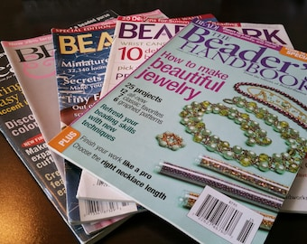 CLEARANCE Lot of 5 Beading Magazines for Jewelry Making and Beading, Bead and Button, Bead Work and Beaders Hand Book 2