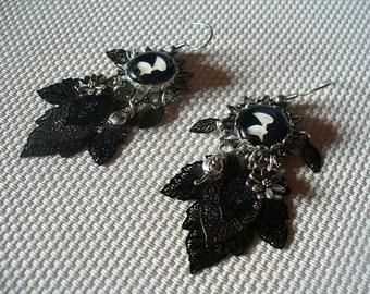 Earrings for pierced ears black and white