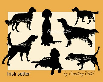 Irish setter silhouette svg clipart cut out file irish setter printable instant download dog silhouette commercial use vector graphic art