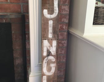 Wooden Jingle Sign//Holiday Porch Sign//Hand Painted Jingle Sign//Wooden Jingle Bells Sign//Fixer Upper//Wooden Signs//