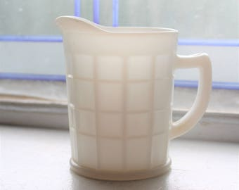 White Milk Glass Pitcher Creamer Vintage Hazel Atlas 1940s