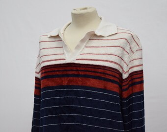 1980s Textured Long Sleeved Polo (DOWN FROM 19.99)
