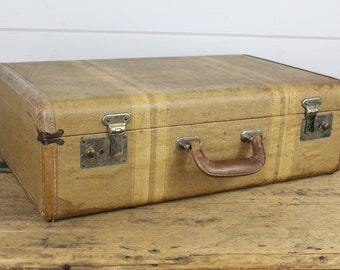 Vintage Yellow Brown Striped Luggage Suitcase, Hard Suitcase, Aged Worn Stained, Luggage Bag, Vintage Luggage, Brown Striped, Old Suitcase