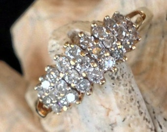 Reserved for Gayle Vintage 10K Gold Three-Row Diamond Ring (st - 852)