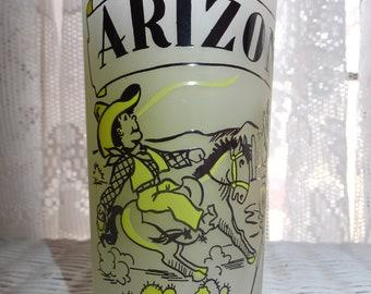 Vintage Anchor Hocking Frosted Arizona State Map Cowboy Indian Souvenir Beverage Tumbler Glass