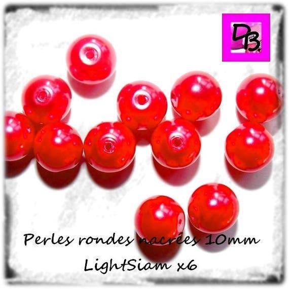 6 Perles nacrées [Light Siam] 10 mm
