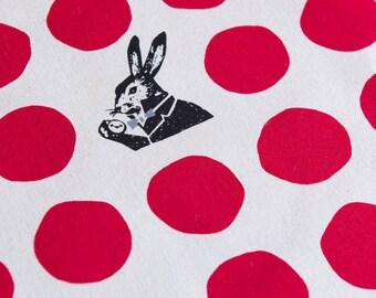 Echino Rabbit Nunokara - Alice in Wonderland - Dots Rabbit EF100-2-30 Red - Half Yard  Canvas Cotton Fabric