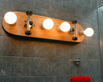 Vanity Light, Skateboard, Bathroom Light  Fixture. Wall Light. Skateboarding.