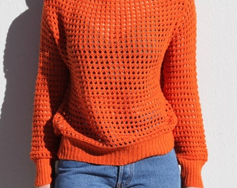 Vintage orange hollow knit long sleeved sweater,blouse.one size