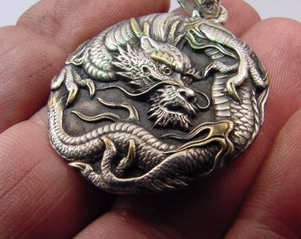 Sterling silver DRAGON Pendant set with 2 natural Yellow Diamonds, 15.5 grams 34x47mm