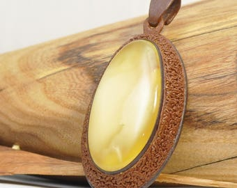 Baltic amber leather, amber pendant, natural, handmade, gift