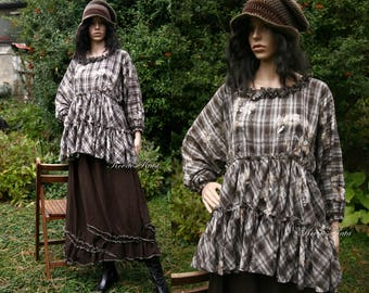 Thale Tunic - Bohemian Ruffled Blouse Lagenlook Clothing