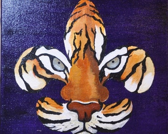 LSU Painting, Made-To-Order Painting, Fleur de Tigre, Mascot painting, Louisiana