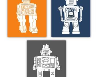 "Robot Art // Robort Decor for Kids // Robots Nursery Wall Art // Robots Art for Toddlers Room // Robot Wall Art // Three 8""x10"" PRINTS ONLY"