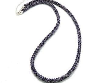 Benzine. Bead crochet rope lariat. Seed bead jewelry. Free