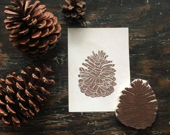 Pinecone Rubber Stamp | Hand Carved