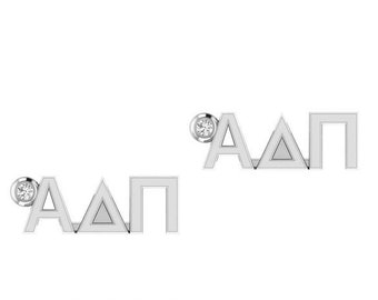 ALPHA DELTA PI Petite Letter Earrings (Silver)