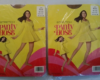 Vintage Pantyhose New Old Stock Nylons 1970's Beige Pantyhose Set of 2 OSFM Hosiery 70's Pantyhose in Original Package Made in USA
