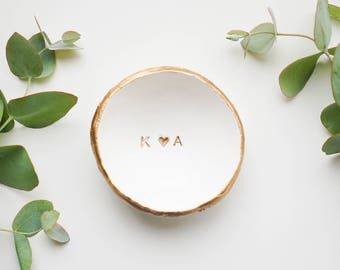 Valentines Gift /  Jewelry Dish / Date and Initials / Wedding Gift / Personalized Gift / Personalized / Engagement Gift / Bridesmaids
