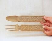 Vintage Hand Carved Wood Fork and Knife