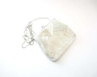 Vintage Wedding / Prom Magid Hand Made in Macau Silver Tone Metal Clear/Silver Seed Bead & Bugle Beaded Evening Shoulder / Clutch Purse