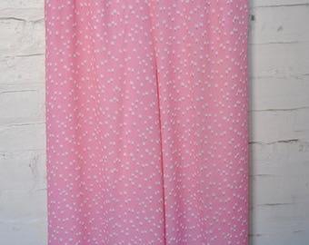 REDUCED Oscar de la Renta 100% Silk Pink and White Dandelion Print Wide-leg Pants, Size 10, Designer/Couture/Carrie Bradshaw /Palazzo Pants