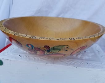 SALE*** Beautifully Hand Painted Wood Bowl