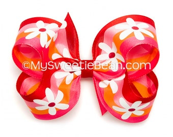 Red Striped Hair Bow, Tropical Summer Daisy Bow, 4 inch Bow, Striped Boutique Bow, Red, Hot Pink, Orange, White Daisies, Baby Toddler Girls