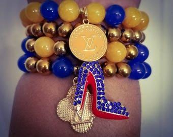 Yellow, Blue, Gold Bracelet Set made w/ Jade & Hematite