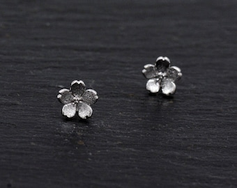 Sterling Silver Little Cherry Blossom Stud Earrings, Cute and Sweet Design  H56