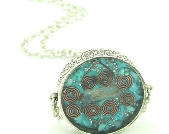 Orgone Energy Pendant - Mens Necklace - Large Double Sided Pendant w/Turquoise Gemstone - Unisex Necklace - Artisan Jewelry